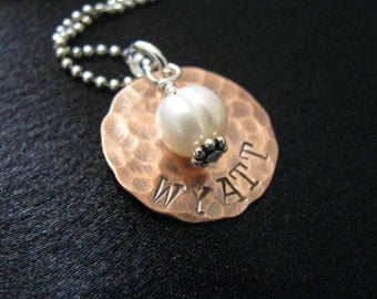 Luke Necklace- HAMMERED copper disk with freshwater pearl- Custom and personalized pendant- HAND STAMPED