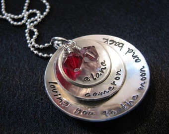 Hand stamped necklace--Personalized and custom--Domed sterling silver disks with names-- The Cameron Necklace