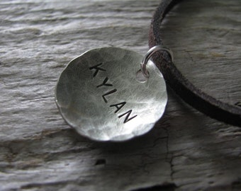 Hand stamped personalized necklace-name necklace-Dad jewelry-stamped names-custom necklace-Daddy's Necklace