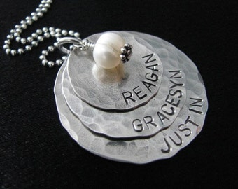 Connor Necklace- Three Layers of hammered sterling silver disks with pearl- HAND STAMPED and personalized