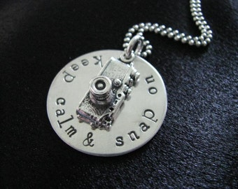 Snap On Necklace- Sterling silver disk with camera charm- HAND STAMPED