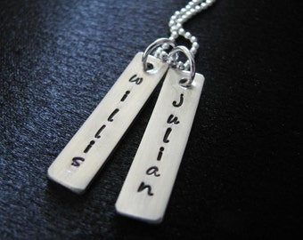 Hand stamped necklace with STERLING SILVER rectangular tags with names--Personalized and custom--The Felicity Necklace