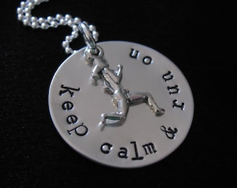 Run On Necklace- Sterling silver disk with female runner charm- HAND STAMPED