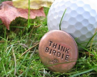Golf Ball Marker- Perfect gift for a golfer (COPPER) HAND STAMPED and personalized