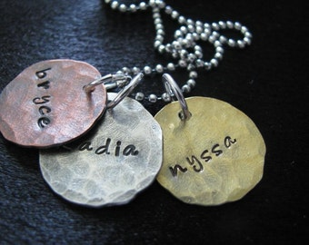 Jane Necklace- Trio mixture of copper, brass and silver- HAND STAMPED and personalized necklace