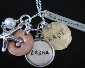 HAND STAMPED and Personalized jewelry--Cluster necklace design--Custom Mommy jewelry--Customize your necklace--The Maisey Necklace