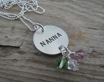 Hand stamped Grandma Necklace--Personalized and custom--Birthstone necklace--The Nanna Necklace with crystal birthstones