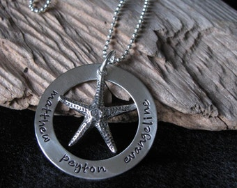 Personalized Hand stamped jewelry--The Evangeline Necklace with Starfish charm--Customize with names--Mother's jewelry
