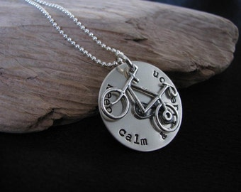 Hand stamped necklace with quote--Keep calm & Ride On Necklace- Sterling silver disk with bike charm--Keep calm