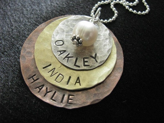 Olivia Necklace- Hand Stamped-Three layers of silver, brass and copper