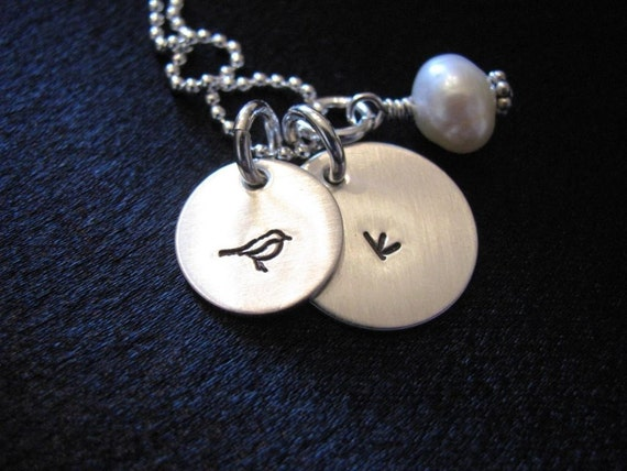 Emily Necklace- Simple initial necklace with a small decorative disk with symbol of your choice- HAND STAMPED