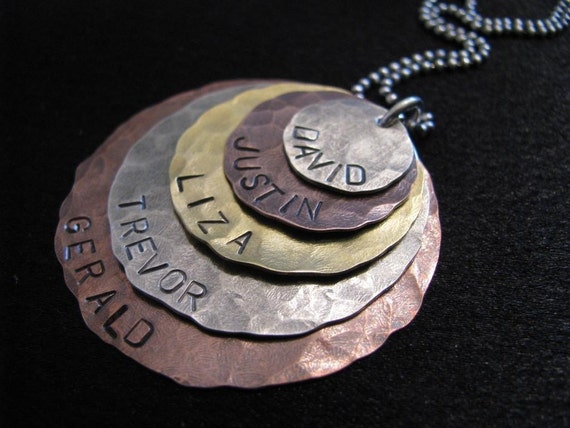 Liza Necklace- Five layers of brass, copper and silver- HAND STAMPED and personalized