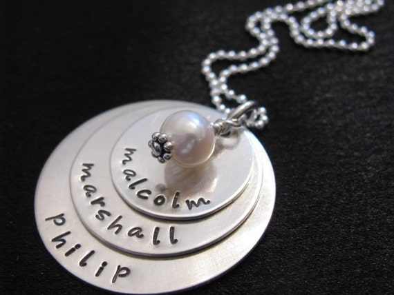 Hand stamped personalized jewelry-Name necklace-Custom necklace- Mother's jewelry-Sterling silver-Maddy Necklace