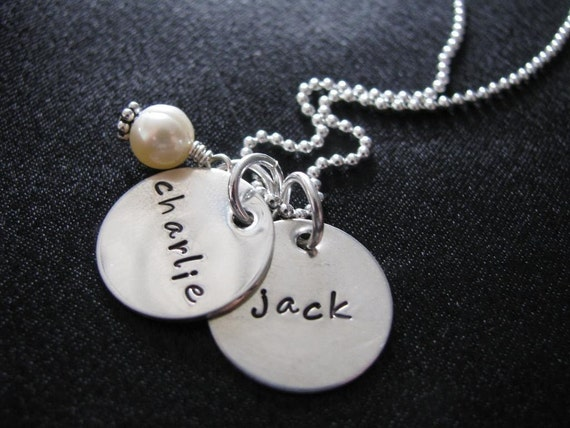 Jaden Necklace- Two tags with pearl-HAND STAMPED, custom and personalized Mommy necklace
