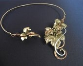 Grape leaves vine Choker Necklace torque/silver, bronze, copper