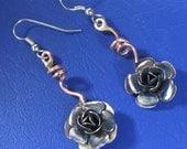 ROSE EARRINGS dangle, copper/ silver