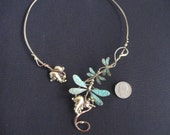 3 dragonfly choker necklace w/ or w/o green on wings