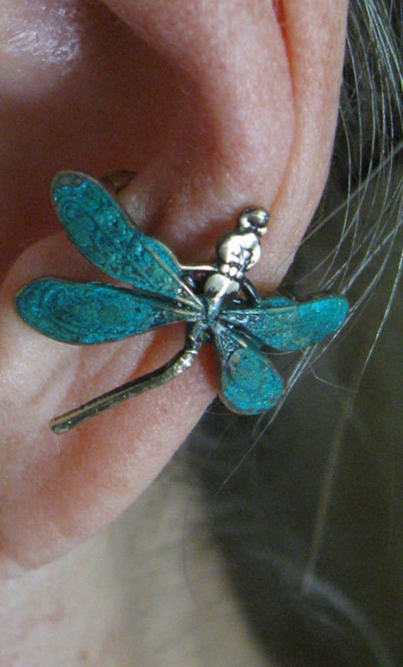 DRAGONFLY EAR CUFF with green patina