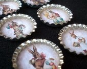 Springtime Easter Bunnies Bottle Cap Magnets Set of 6