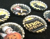 Halloween Black Cat Bottle Cap Magnets Set of 6