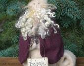 Primitive Folk Art Christmas Santa Kitty Cat Art Doll Winter Shelf Sitter Decoration