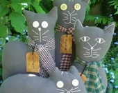 Kitty Cat Dolls Primitive Folk Art Gray Flannel-Set of 4