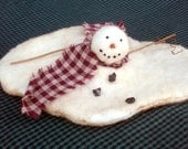 Primitive Melting Snowman Shelf Sitter Winter Christmas Decoration