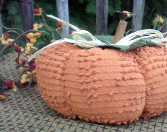 Primitive Fall and Halloween Pumpkin Upcycled From Vintage Fabric