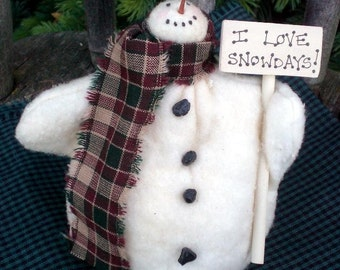 Snowdays, The Primitive Folk Art Snowman Doll Winter Christmas Shelf Sitter