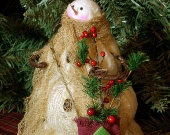 Mrs. Snowflake The Primitive Folk Art Snowman Doll Winter Christmas Shelf Sitter