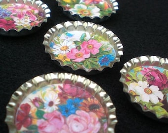 Spring and Summer Farmhouse Cottage Flowers Bottle Cap Magnets Set Of 6