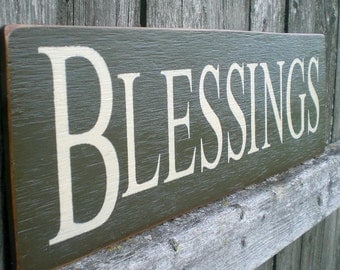Primitive Wood Sign- Blessings, Large