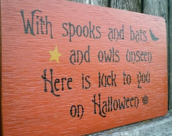 Primitive Wood Halloween Sign- Spooks And Bats And Owls