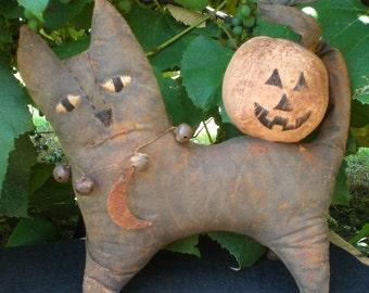 Gypsy The Extreme Primitive Folk Art Halloween Black Cat Art Doll and Pumpkin
