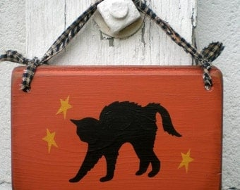 Small Primitive Halloween Sign- Black Cat And Stars