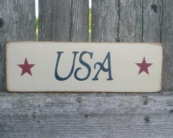 Small Primitive Americana Wood Sign- USA with Red Stars