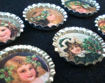 Victorian Christmas Holly Girls Bottle Cap Magnets Set of 6