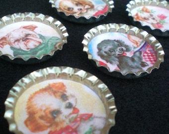 Playful Puppies Pet Lover Bottle Cap Magnets Set of 5