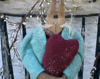 Primitive Folk Art Spring  And Easter Turquoise Rabbit Art Doll Shelf Sitter