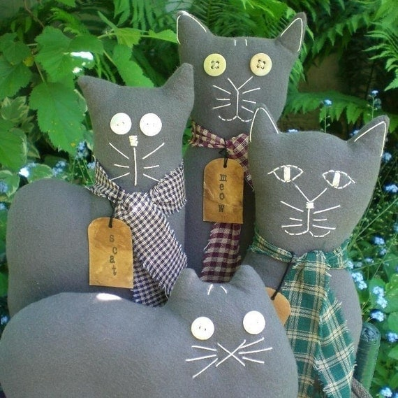 Kitty Cat Dolls Primitive Folk Art Gray Flannel-Set of 4