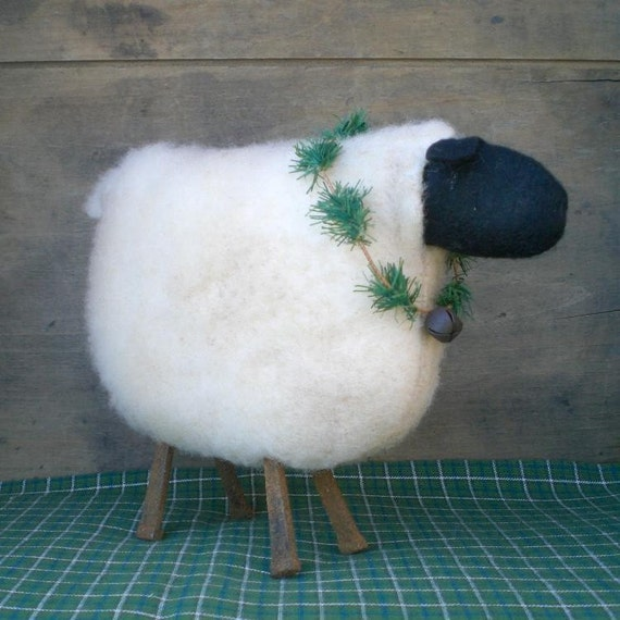Primitive Folk Art Sheep Shelf Sitter Art Doll