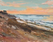Beach Painting original impressionist art of sunset at sea with beach cottages by Russ Potak