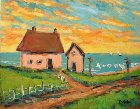 Painting of seascape cottage and laundry with sailboats by Russ Potak