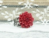 Mum Flower Ring, Adjustable Ring, Red Flower Ring, Mum Ring, Dahlia Ring, Filigree Ring - IngridsCreations