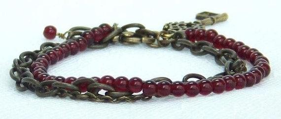 Ruby Red Bracelet, Multi Strand Bracelet, Glass Bead Bracelet, Antique Brass Bracelet, Chain Bracelet