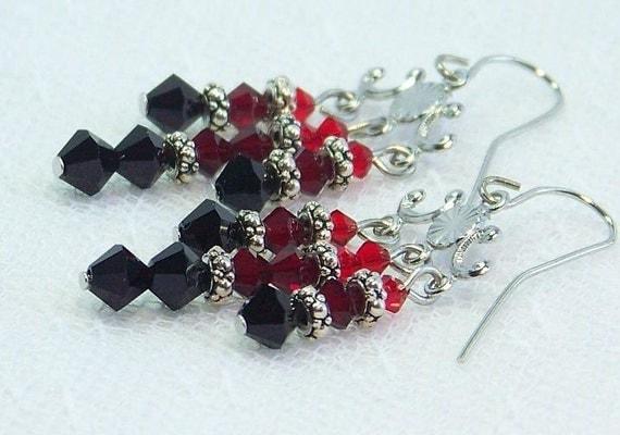 Chandelier Earrings, Red Crystal Earrings, Chandelier Crystal Earrings, Clearance Earrings, Clearance Jewelry,