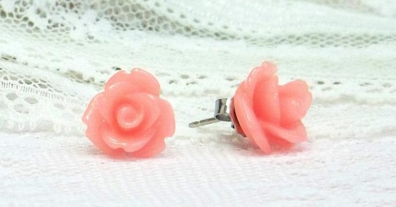 Hypoallergenic Rosebud Earrings In Peach With Surgical Steel Posts