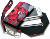 Custom Fit Cell Phone Cozy with coordinating keychain wristlet and inside pocket -  Red flower