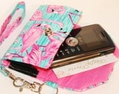 Custom Fit Cell Phone Case with coordinating keychain wristlet and inside pocket - pink flamingos