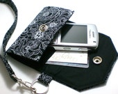 Custom Fit Cell Phone Cozy with coordinating keychain wristlet and inside pocket - black with white dot flowers